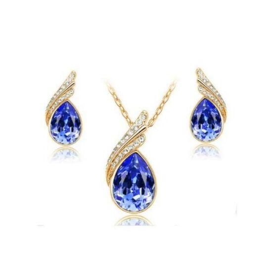 Csepp formájú kristályos ékszerszett - Sötét kék/arany