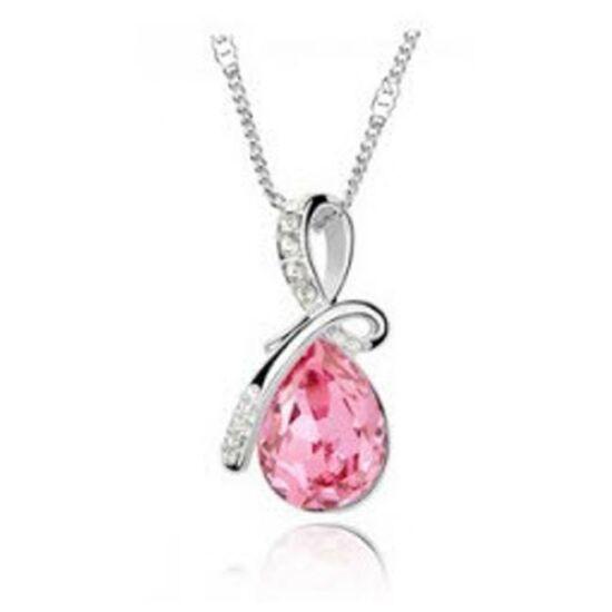 Csepp formájú kristályos nyaklánc - Pink