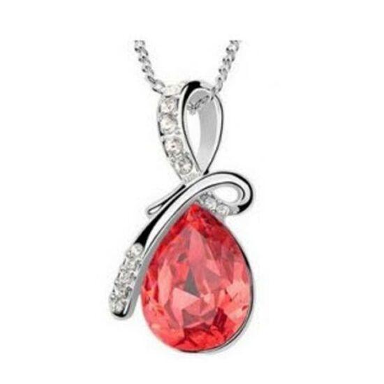 Csepp formájú kristályos nyaklánc - Piros/ezüst