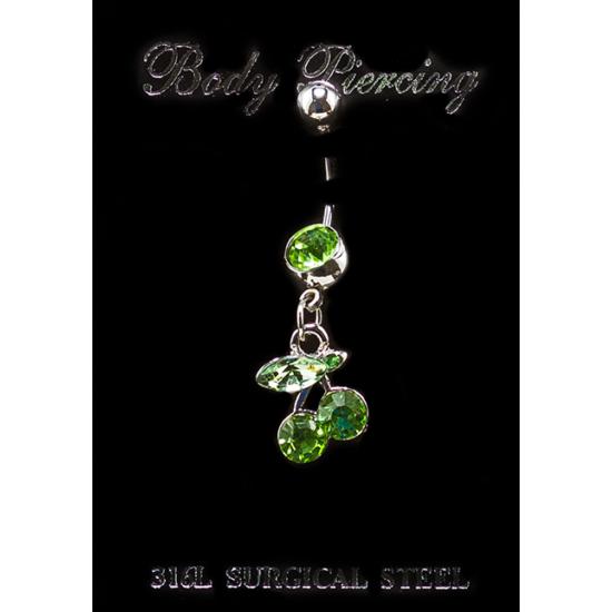 Cseresznye nemesacél piercing zöld