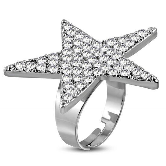 Csillag alakú, állítható nemesacél gyűrű ékszer, cirkónia kristállyal