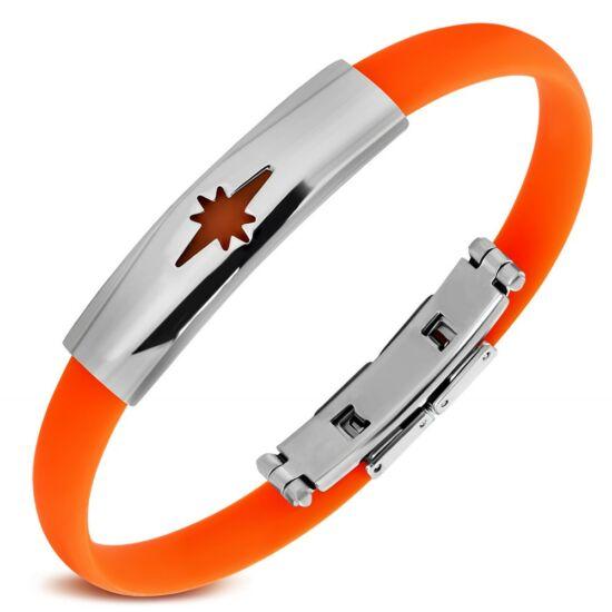 Csillag mintás kaucsuk karkötő ékszer narancssárga