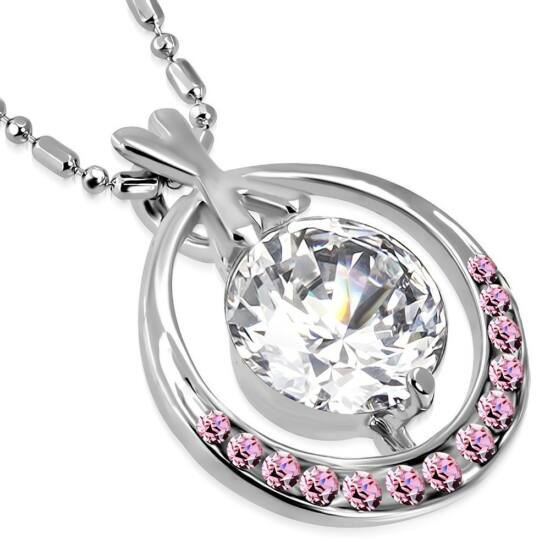 Csiszolt, rózsaszín kristállyal ékesített női nyaklánc