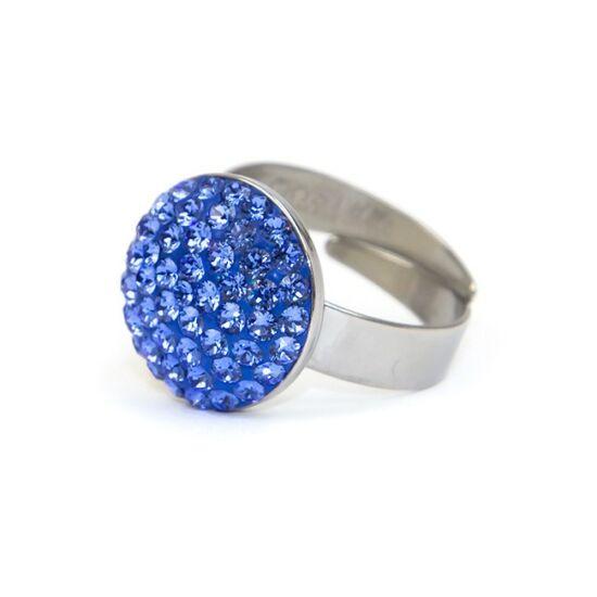 Dina Swarovski® kristályos nemesacél gyűrű - Bermuda Blue