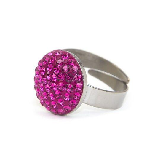 Dina Swarovski® kristályos nemesacél gyűrű - Fuchsia