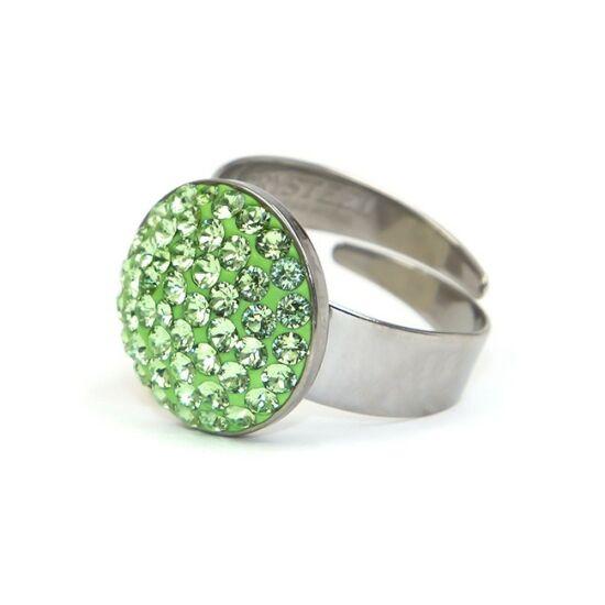 Dina Swarovski® kristályos nemesacél gyűrű - Peridot