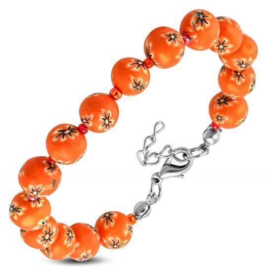 Divatos narancssárga virág mintás gyöngyös bizsu karkötő