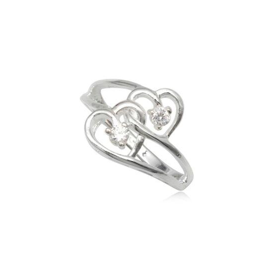 Dupla szives ezüst gyűrű fehér cirkónia kristállyal-6