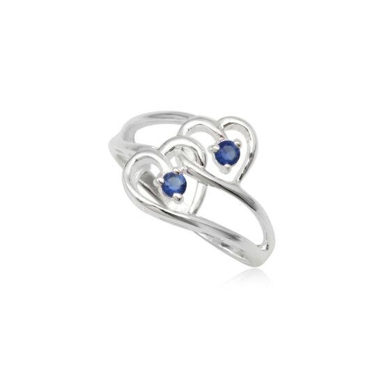 dupla szives ezüst gyűrű sötét kék cirkónia kristállyal-6