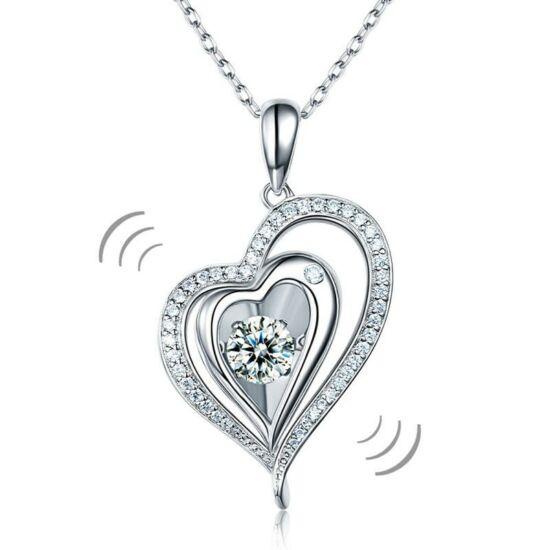 """Dupla szíves """"táncoló"""" szintetikus gyémánt nyaklánc - 925 ezüst ékszer"""