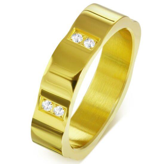 Exkluzív, arany színű nemesacél gyűrű ékszer cirkónia kristállyal