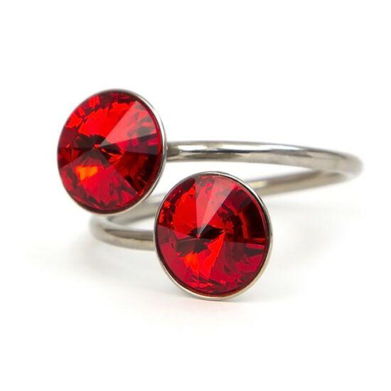 Exo Swarovski® kristályos nemesacél gyűrű - Light Siam