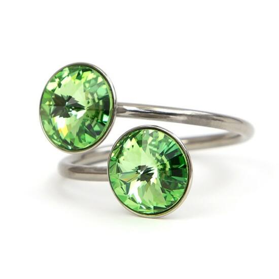 Exo Swarovski® kristályos nemesacél gyűrű - Peridot