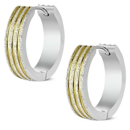Ezüst és arany két színű nemesacél fülbevaló ékszer