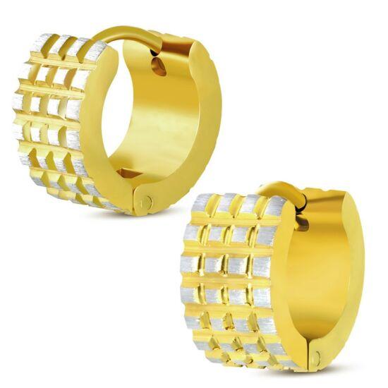 Ezüst és arany színű, gyémánt vágott nemesacél fülbevaló ékszer
