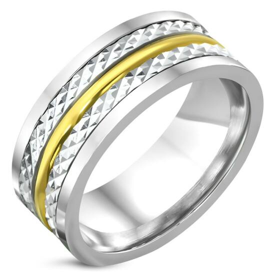 Ezüst és arany színű, középen forgó nemesacél gyűrű ékszer