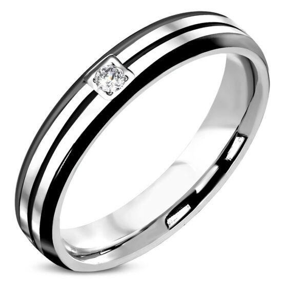 Ezüst és fekete színű nemesacél gyűrű ékszer, cirkónia kristállyal