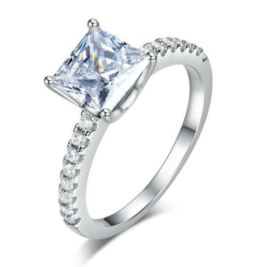 Ezüst gyűrű átlátszó kristállyal-5