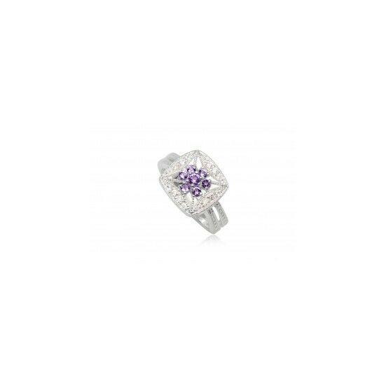 Ezüst gyűrű lila cirkónia kristállyal-6