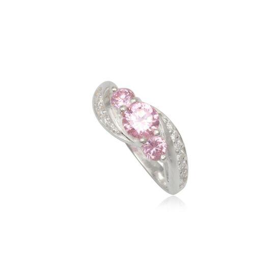 Ezüst gyűrű rózsaszín cirkónia kristállyal-6