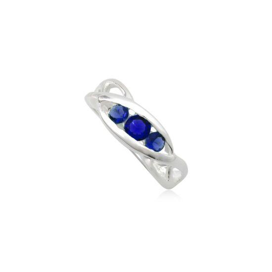 Ezüst gyűrű sötét kék cirkónia kristállyal-6