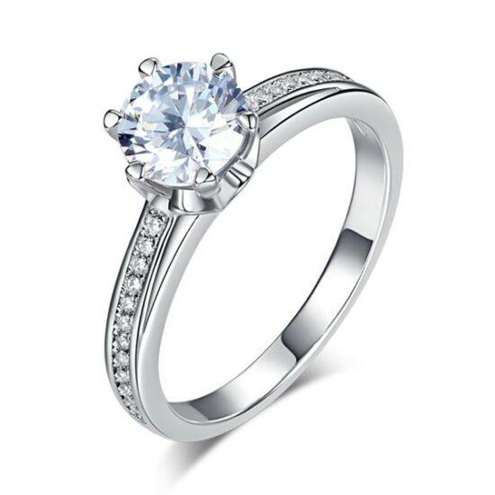 Ezüst gyűrű szintetikus gyémánt kristállyal-5