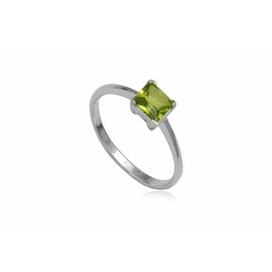 Ezüst gyűrű zöld cirkónia kristállyal-6