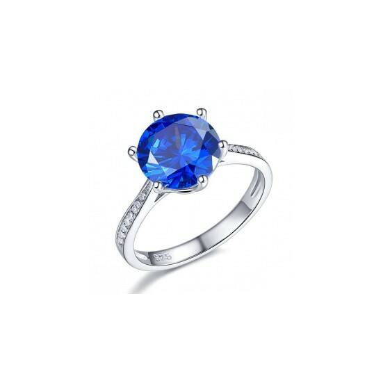 Ezüst kék gyémánt gyűrű-5