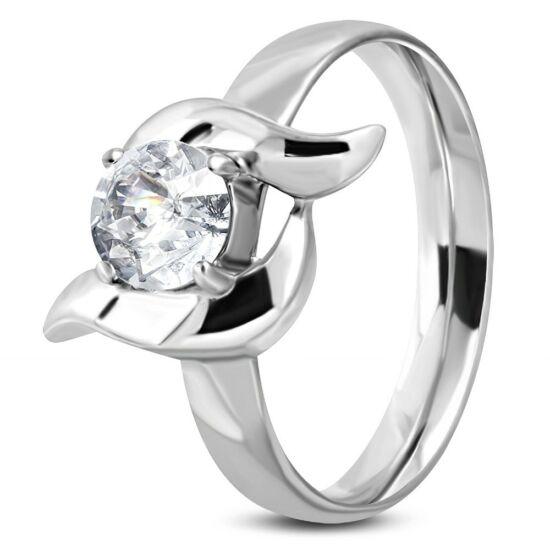 Ezüst színű, cirkónia kristályos nemesacél gyűrű -5