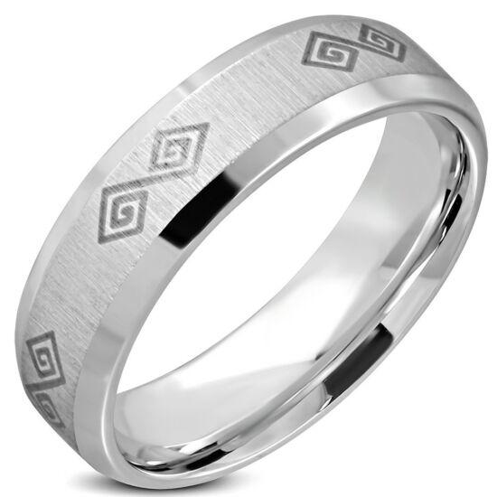 Ezüst színű, görög mintás nemesacél gyűrű ékszer