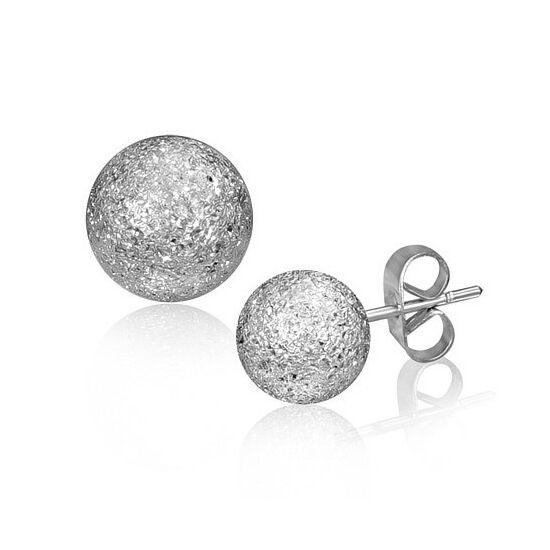 Ezüst színű, homokfújt gömb alakú nemesacél fülbevaló