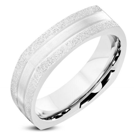 Ezüst színű, homokfújt nemesacél gyűrű