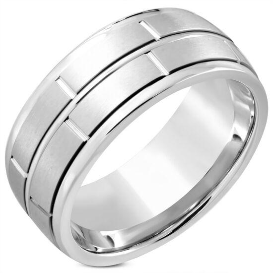Ezüst színű,hornyozott, középen forgó nemesacél gyűrű ékszer
