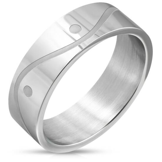 Ezüst színű, hullám mintás nemesacél gyűrű ékszer
