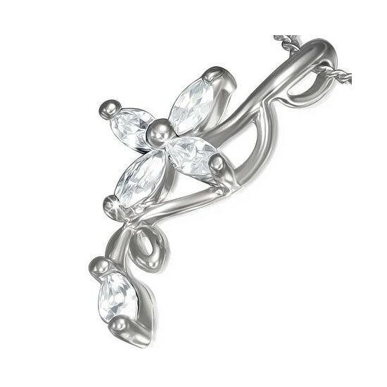Ezüst színű, hullámos,virág díszes divatos nyaklánc cirkónia kristállyal