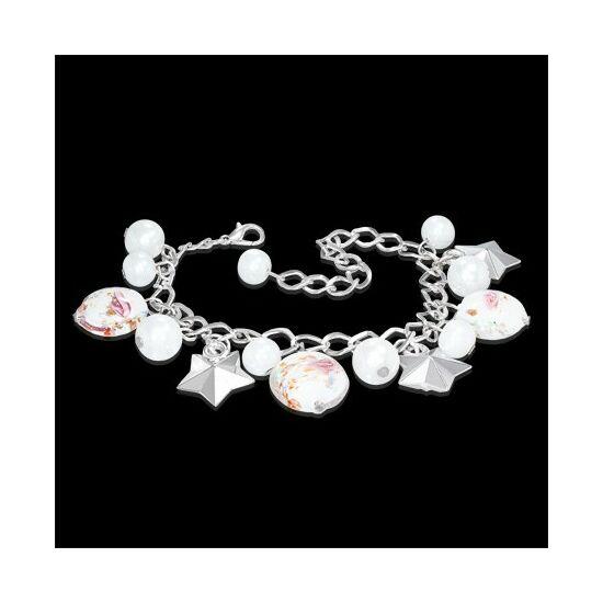 Ezüst színű karlánc fehér, rózsás üvegdíszekkel