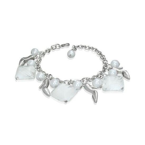 Ezüst színű karlánc fehér üvegdíszekkel