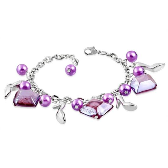 Ezüst színű karlánc lila/rózsaszín üvegdíszekkel
