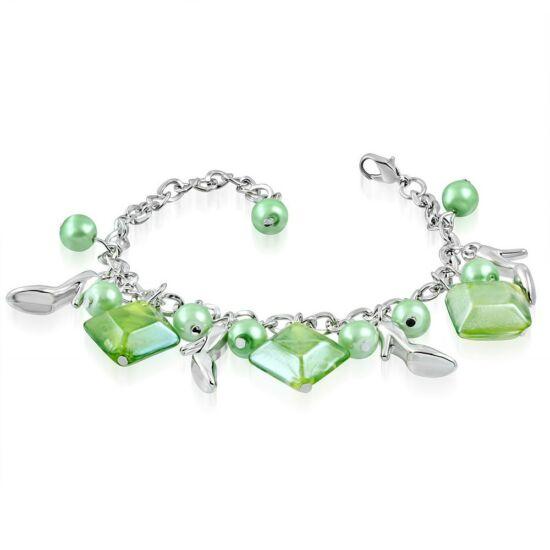 Ezüst színű karlánc zöld üvegdíszekkel