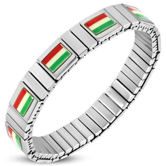 Ezüst színű, Magyar zászlós, rugalmas nemesacél karlánc