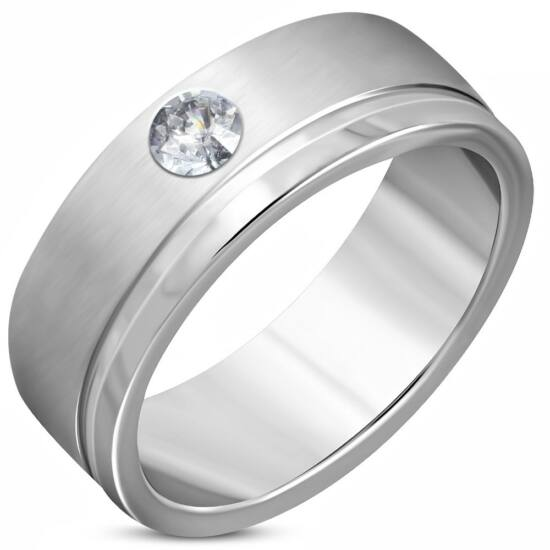 Ezüst színű, matt nemesacél gyűrű ékszer cirkónia kristállyal
