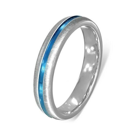 Ezüst színű, matt nemesacél gyűrű kék csíkkal