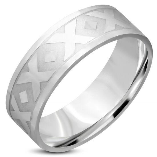Ezüst színű, mintás nemesacél gyűrű ékszer