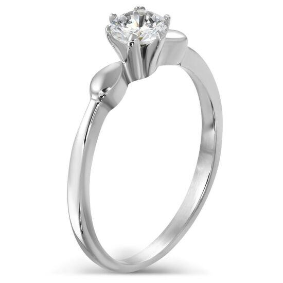 Ezüst színű nemesacél gyűrű cirkónia kristállyal-5,5