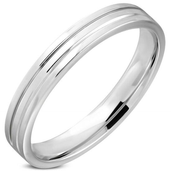 Ezüst színű nemesacél gyűrű ékszer-5