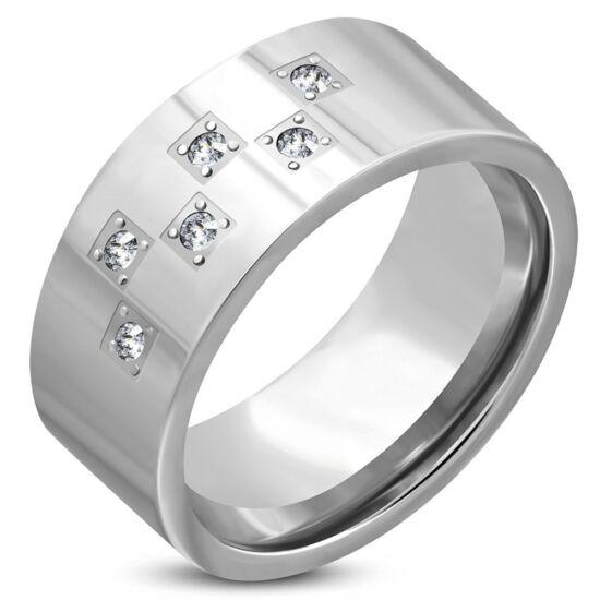 Ezüst színű nemesacél gyűrű ékszer, cirkónia kristállyal