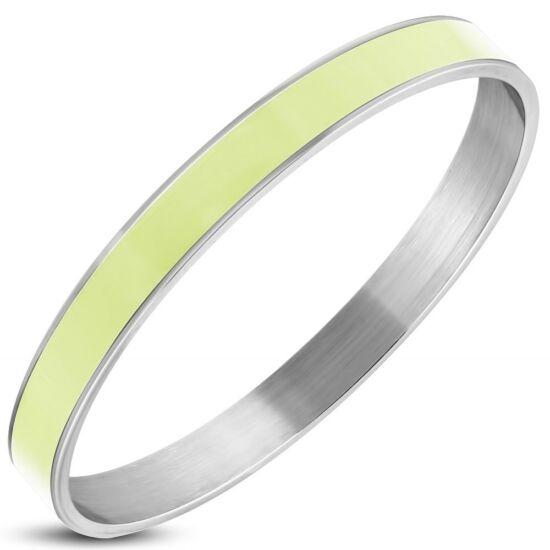 Ezüst színű nemesacél karkötő halványzöld dísszel