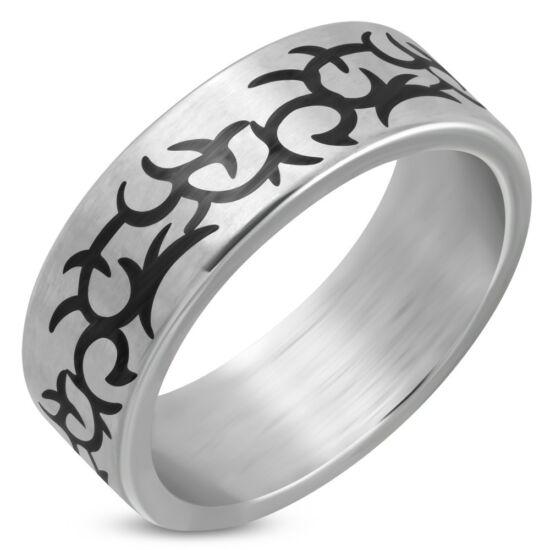 Ezüst színű, nonfiguratív mintás nemesacél gyűrű ékszer