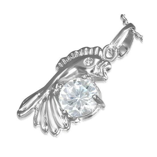 Ezüst színű nyaklánc, hal formájú cirkónia kristályos medállal