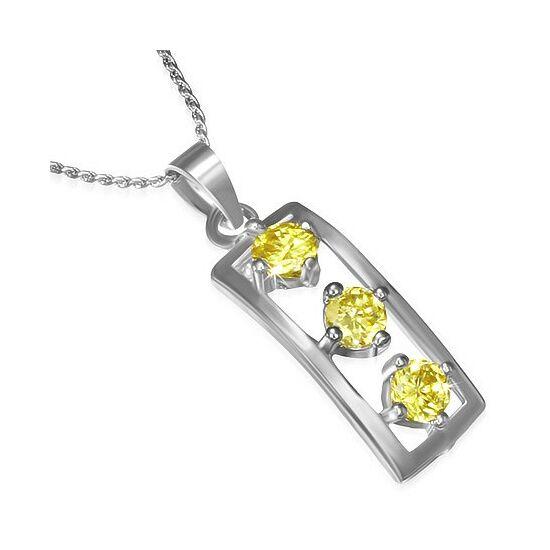 Ezüst színű nyaklánc, sárga cirkónia kristályos medállal
